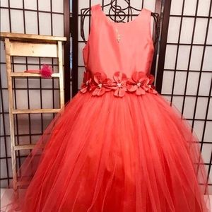 Cecile, Girl Dress Formal  Coral 6/7,